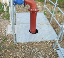 Defender twin adopted to suit existing pipework - Hinged Access Covers