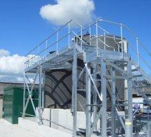 Steelway Platform - walkway - handrail - stairs - rectangular pattern open mesh / grating - Industrial Access Metalwork
