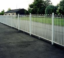 Bowtop Fencing with spheres on posts - Steel Railings