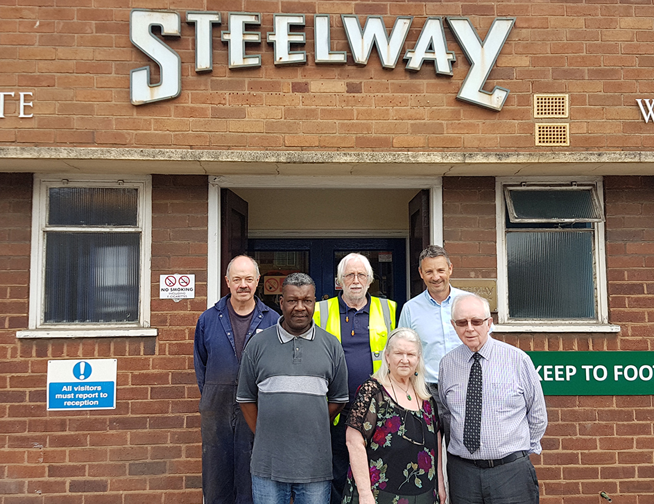Back row left to right  Geoff Riley (Plater), Phil Stokes (Works Manager), Neil Russell (Sales & Estimating Director)  front row Fred Abrahams (Welder), Carol Aubrey (Receptionist) & Dan Houghton  (MD)