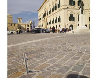 Recessed covers at Castille Square in Malta