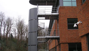 Steel fire escape staircases