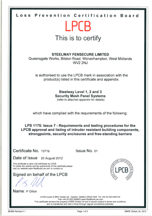 LPCB Certificates | Steel Fabrication Company
