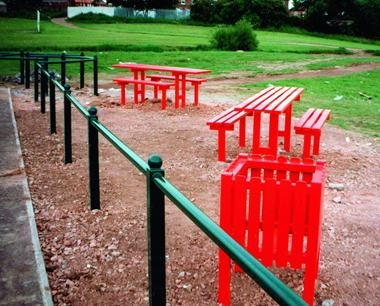 Playground Furniture - Queensgate Benches and Bins