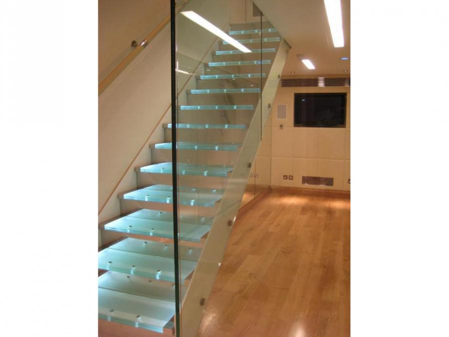 Architectural Steel staircase with glass treads