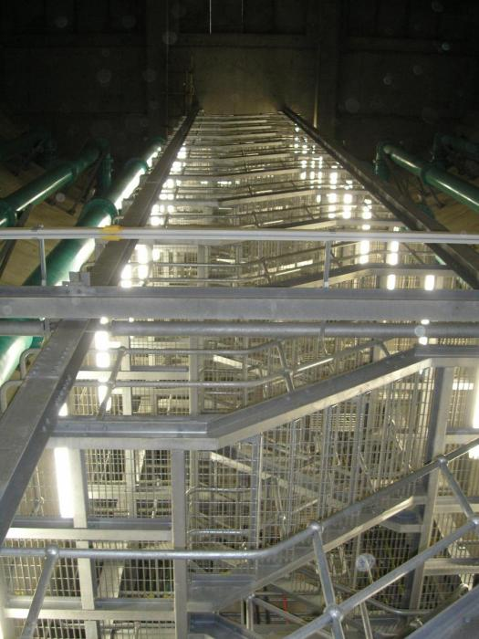 Preton Tunnels - multi flight staircase within 35m deep shaft